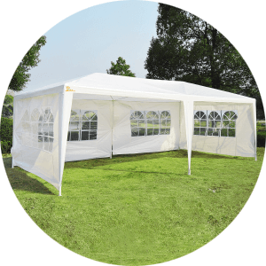 The easy to build Palm Springs 10 x 20ft Party Tent Gazebo comfortably holds up to 30 people. Includes six detachable (Velcro) sides which can be added ...  sc 1 st  GolfAndSports.com & GolfAndSports.com - Palm Springs 10u0027 x 20u0027 White Canopy Party Tent ...